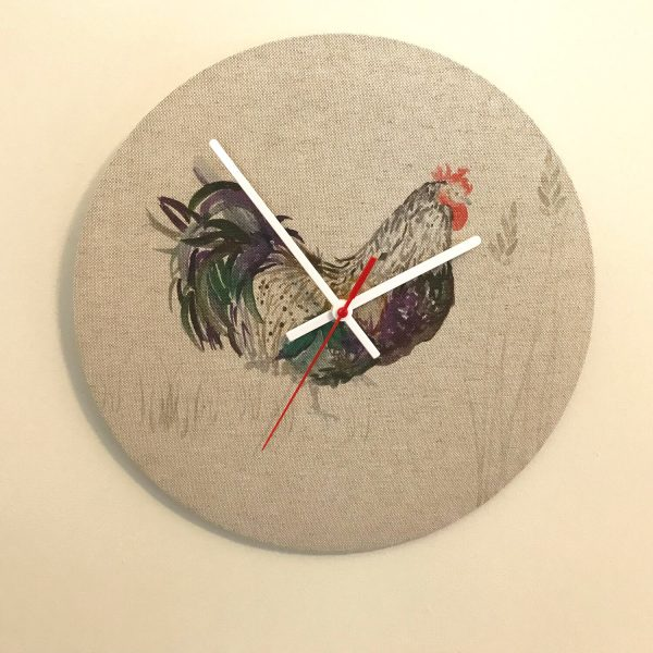 cockerel material clock - Love Your Lounge