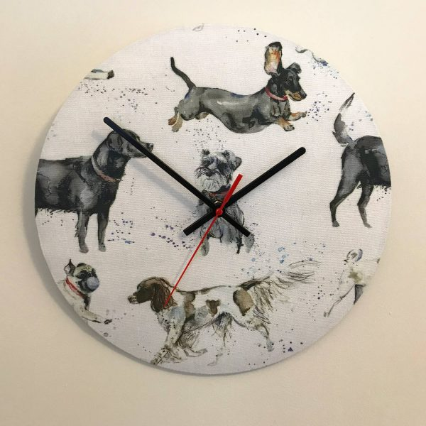 dog print material clock - Love Your Lounge