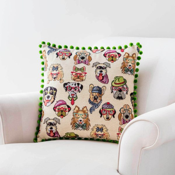 dogs with glasses fun print cushion - love your lounge