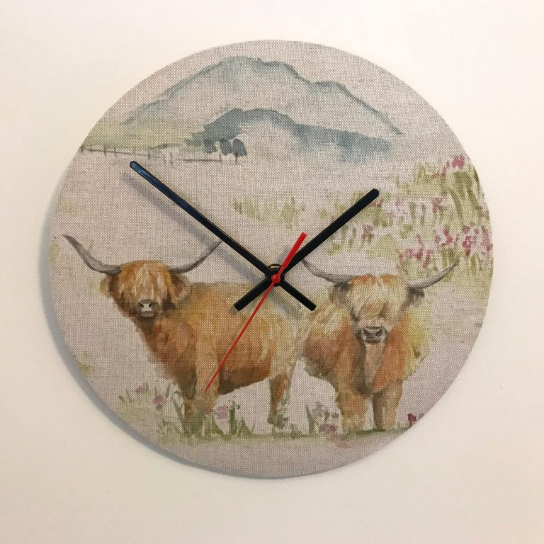 voyage highland cow print material clock - - Love Your Lounge
