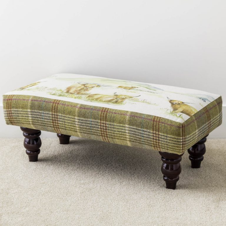 voyage material highland cattle and tweed footstool - Love Your Lounge