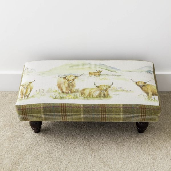 voyage material highland cattle and tweed footstool - - Love Your Lounge