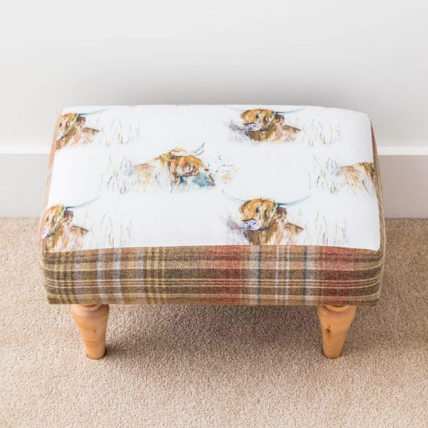 voyage material high cow and tweed footstool - Love Your Lounge