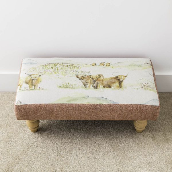 voyage material highland cattle footstool - Love Your Lounge