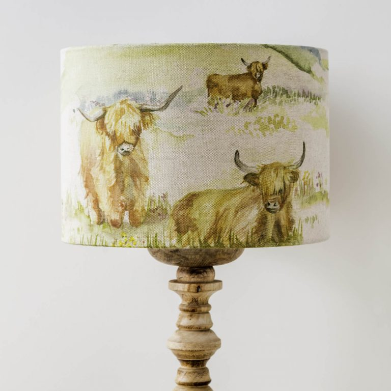 voyage material highland cow print lamp shade - Love Your Lounge