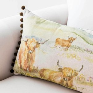 voyage highland cattle print cushion - love your lounge