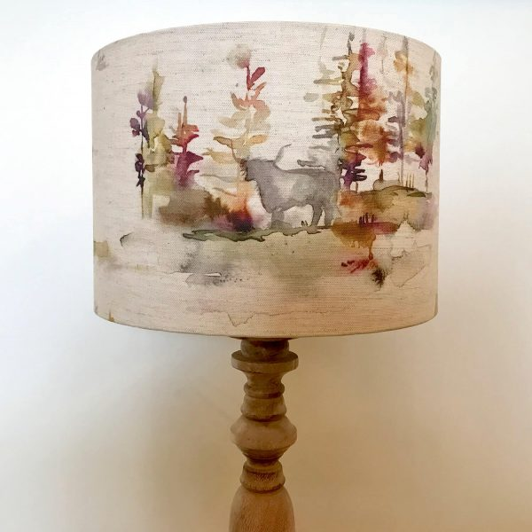 voyage material watercolour highland cow print lamp shade - Love Your Lounge