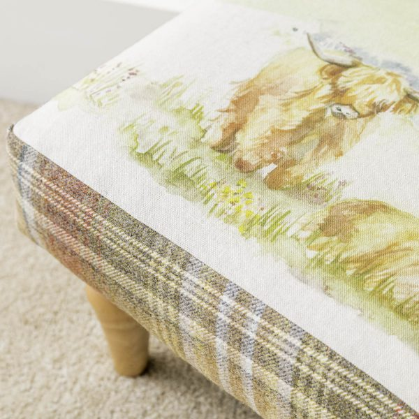 voyage material highland cattle print footstool - Love Your Lounge