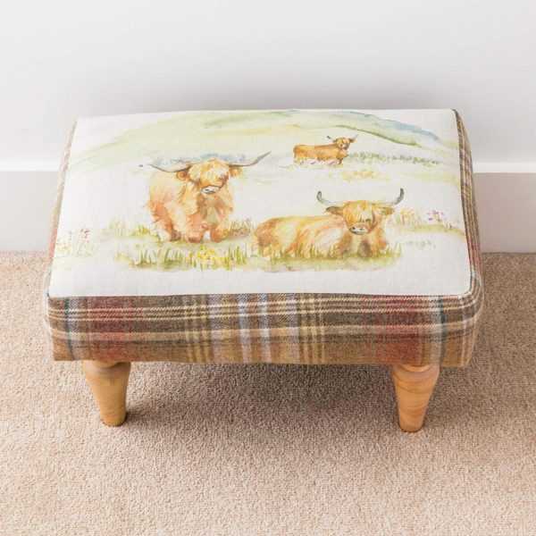 voyage material highland cow and tweed footstool - Love Your Lounge