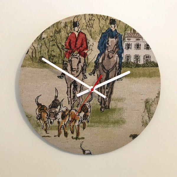 tally ho material horse print clock - Love Your Lounge