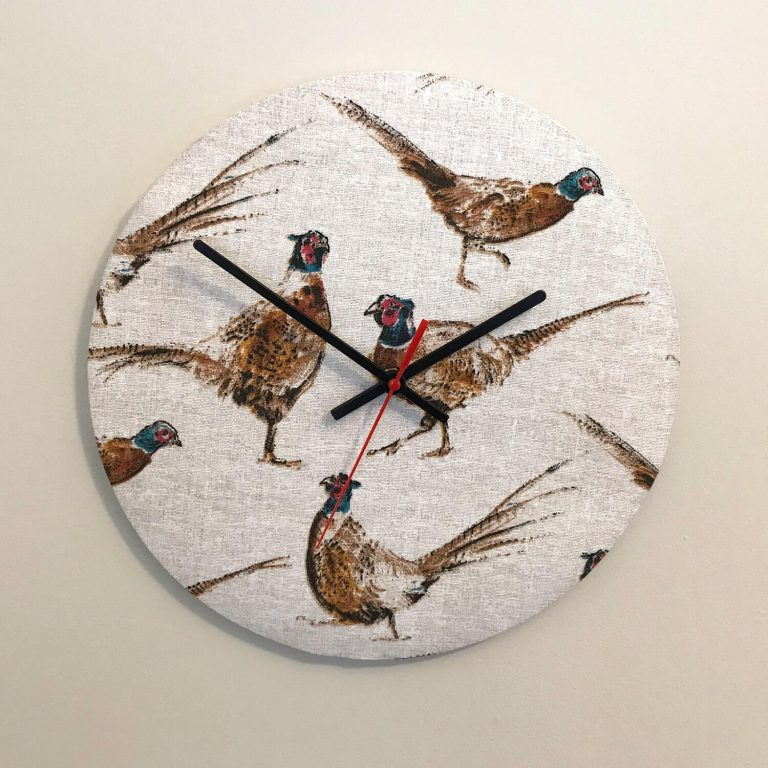 pheasant print material clock - Love Your Lounge