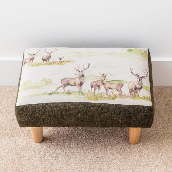 voyage material stag print and tweed footstool - Love Your Lounge