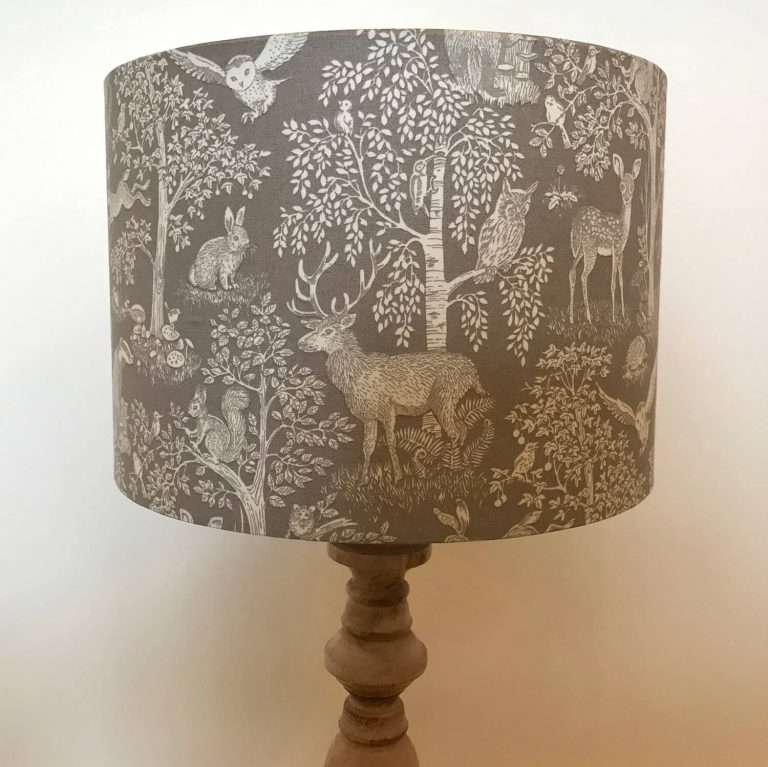 woodland illustration print lamp shade - Love Your Lounge