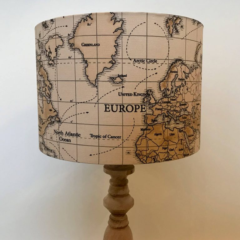 world map print handmade lampshade - Love Your Lounge